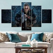 Leinwand Rahmen Kunst Für Wohnzimmer Wohnkultur Valhalla Viking Kunstwerk 5 Stück assassins Creed Wand Bild Drucken Malerei poster