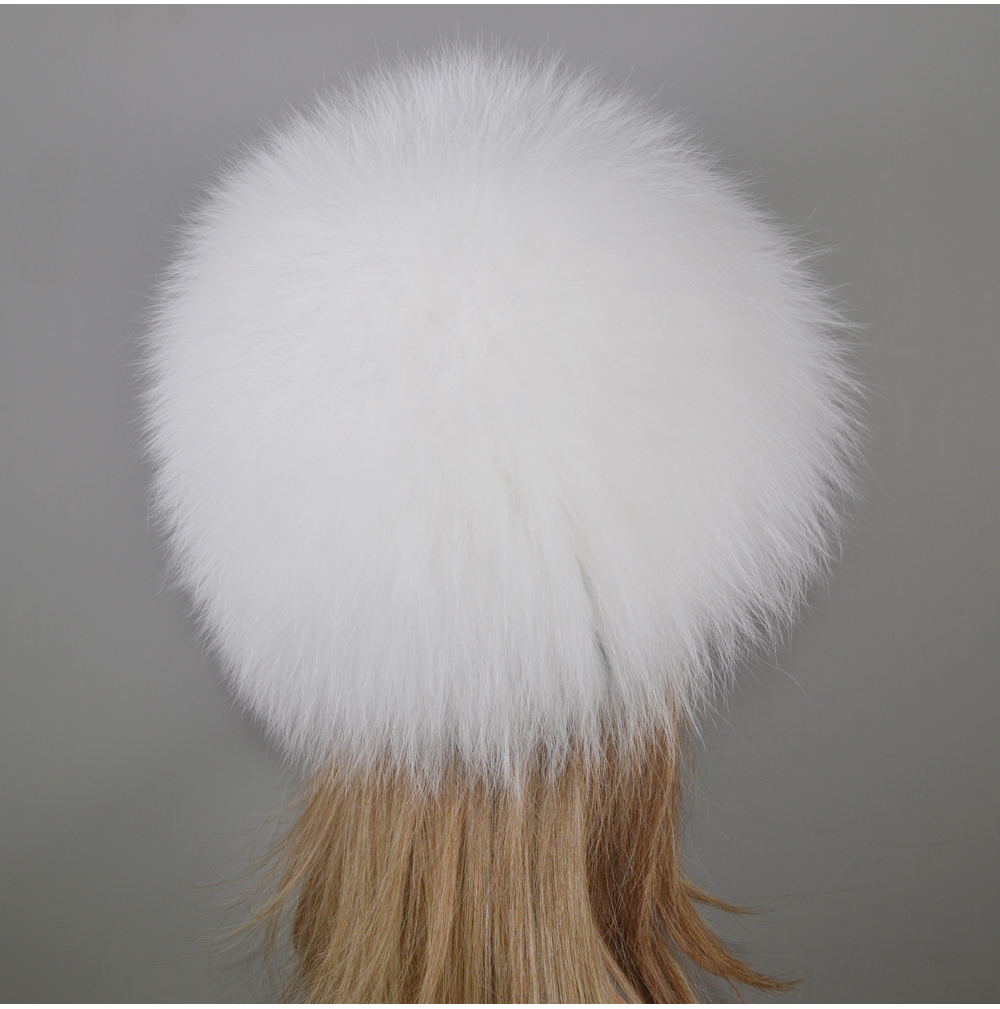 H3204ccc9901a4dddb121c351eb85ea13A - New Luxury 100% Natural Real Fox Fur Hat Women Winter Knitted Real Fox Fur Bomber Cap Girls Warm Soft Fox Fur Beanies Hats
