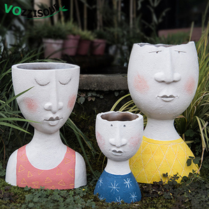 HOT Art Portrait Face Flower Pot Vase Handmade Sculpture Resin Family Tree Man Flower Pot Garden Decoration Home Plant Container(China)
