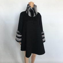 Manteau long en cachemire pour femme, taille moyenne, col en vraie fourrure, 100%, fait à la main, nouvelle collection printemps automne hiver 2021