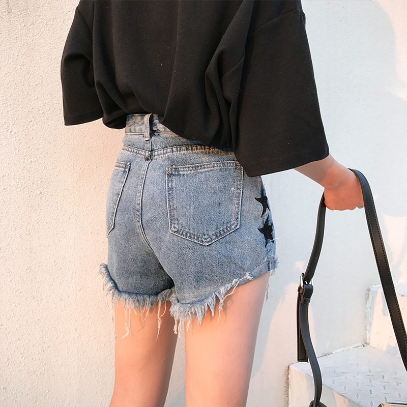 HME Children 2018 Side Five-pointed Star Figure Jeans Women's Wide-Leg Shorts High-waisted Frayed Denim Shorts Women's Fashion