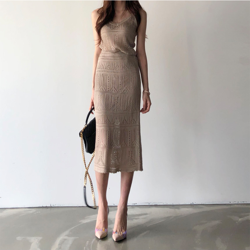 Summer 2 Piece Set Women Casual Outfit Knitted Skirt Suit Clothing Set Solid Color Spaghetti Strap Tops And Midi Knit Skirts