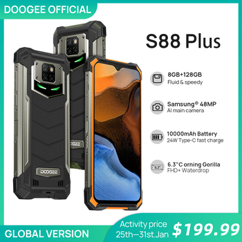 Doogee-teléfono inteligente S88 Plus, versión Global, teléfono móvil resistente IP68/IP69K, Cámara principal de 48,0mp, 8GB RAM, 128GB ROM OS Android 10 OS