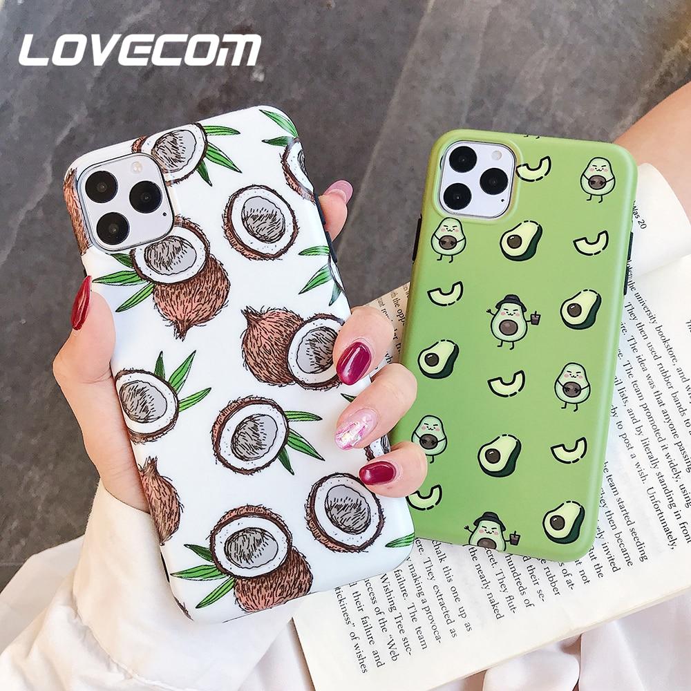 LOVECOM Cartoon Obst Avocado Abb Telefon Fall Für iPhone 11 Pro Max XR X XS Max 7 8 6S plus Fall Volle Körper Weichen IMD Telefon Abdeckung
