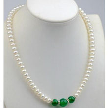 8-9mm Natural Abacus white Pearl / Green Jade (10-12mm) Beads Necklace jj(China)