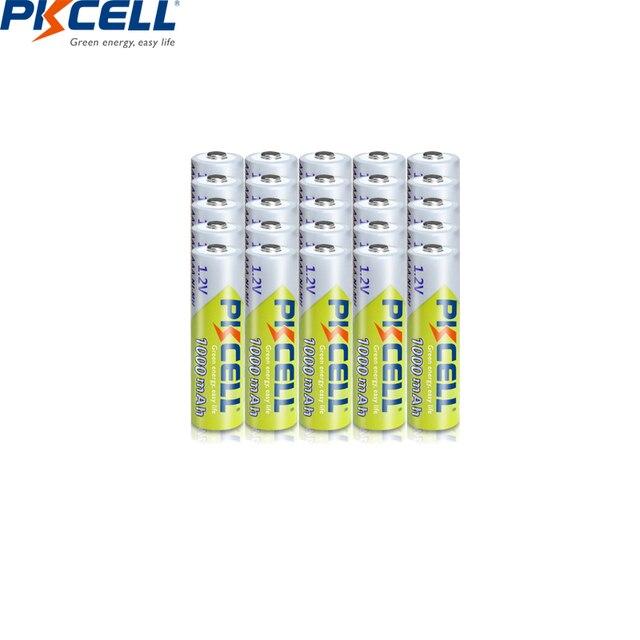 20pcs PKCELL AAA 배터리 1000mAh 3A 니켈 수소 AAA 충전식 배터리 배터리 1.2V NIMH Baterias 카메라 손전등 완구