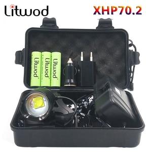 Image 1 - 헤드 램프 헤드 램프 헤드 라이트 손전등 토치 원래 3 전구 Xhp70.2 Led 18650 배터리 Litwod 줌 입/출력 리튬 이온