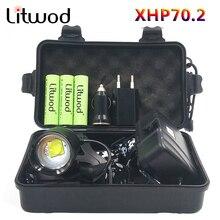 كشافات الرأس مصباح المصباح مصباح يدوي الشعلة الأصلي 3 المصابيح Xhp70.2 Led 18650 بطارية Litwod التكبير/الخروج ليثيوم أيون
