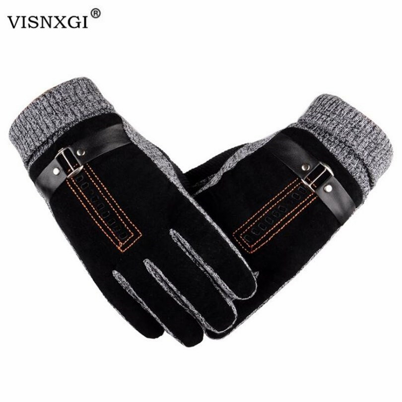 VISNXGI Men Winter Gloves Touched Screen Leather Guantes PU Patchwork Thick Driving Gloves Male Motorcycle Thermal