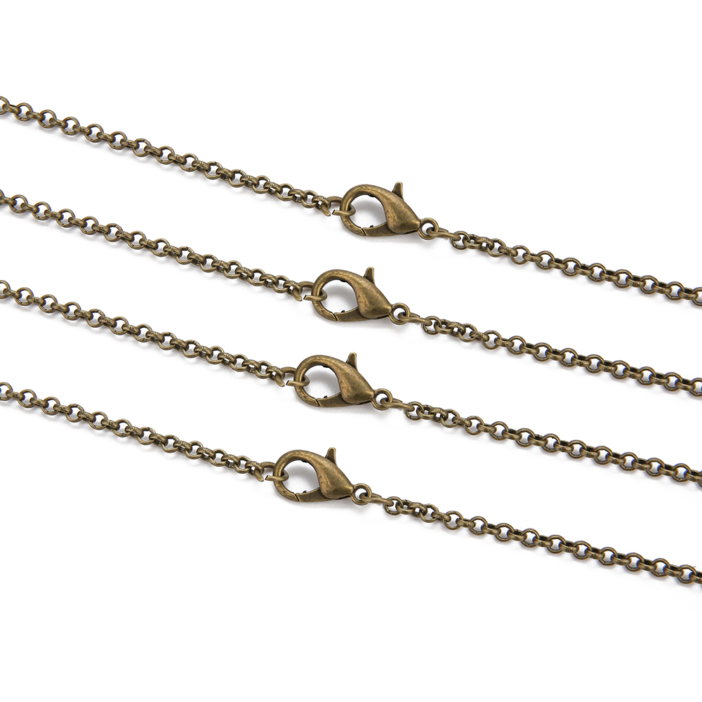 H32055892075d4c35a40fe8577e55f495p - 10pcs/lot Gold  Antique Bronze Color 3mm Round Link Chain Necklace with Lobster Clasp 60cm Fit DIY Jewelry Making Findings