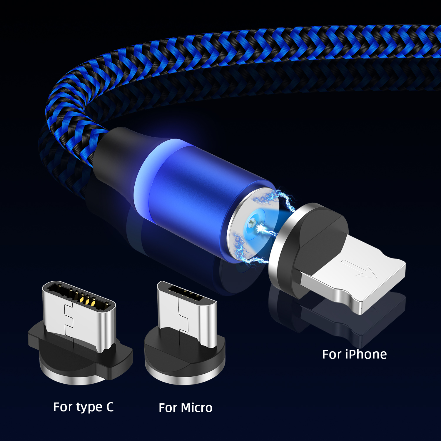 Tkey Micro USB Type C Cable LED For iphone Samsung Magnetic Fast Charging Date Wire Cord Magnet Charger Mobile Phone Cable