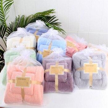 24 Colors Coral Fleece Absorbent Hair Swimming Face Hand Bath Towel Sets Microfibre Towels Bathroom Towels Microfiber Towel Set 3pcs beach love coral fleece bathroom mat set