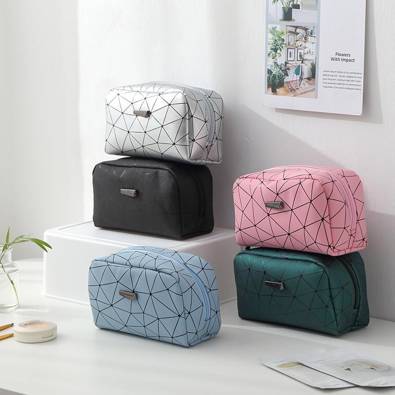 Fashion Travel Diamond PU Makeup Bag Organizer Women Waterproof Zipper Cosmetic Make Up Storage Portable Beauty Wash Kit Case