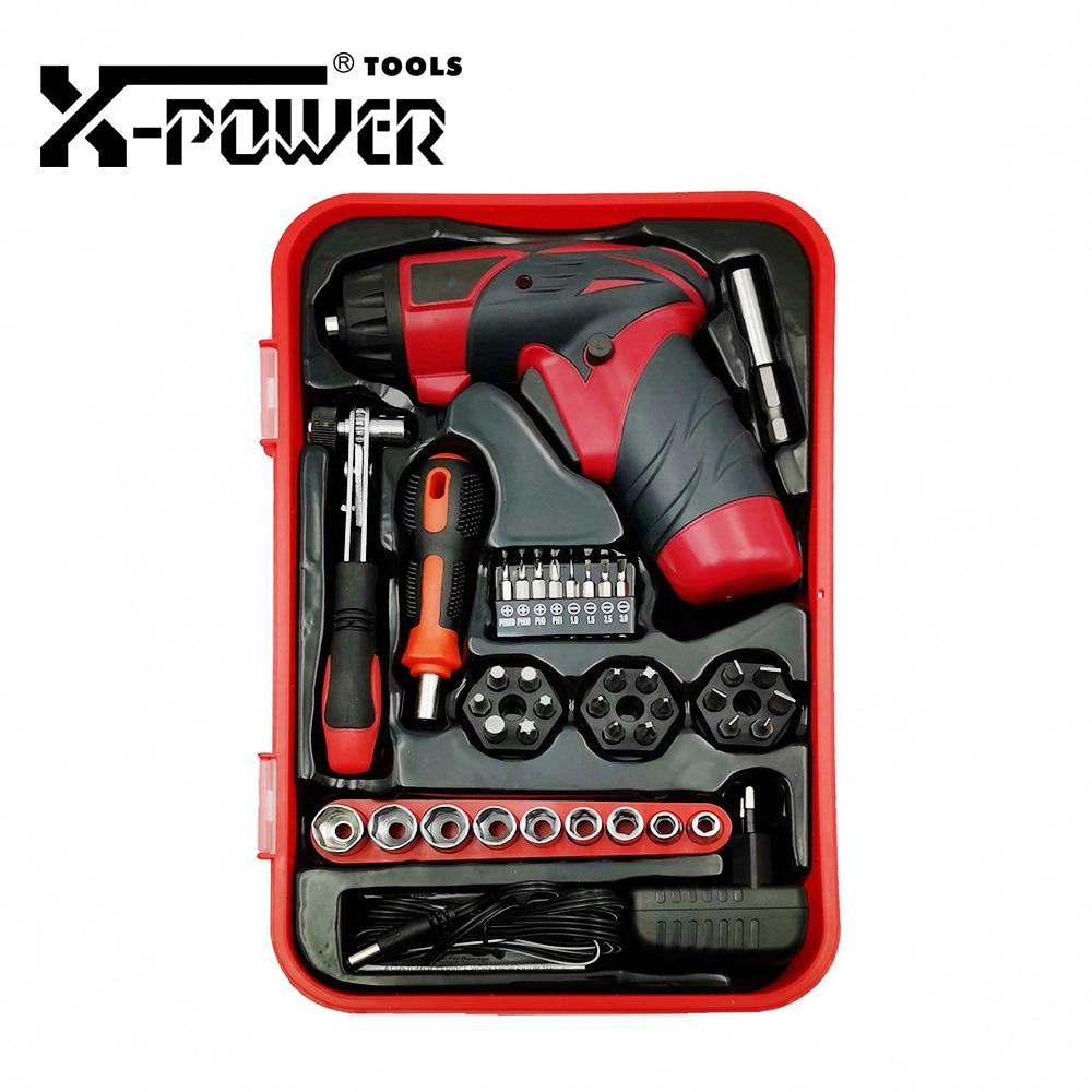 X-power 4 8V Battery Small Electric Cordless Screwdriver Screw Bits Ratchet Handle Sleeves Kit EU Plug Power Tool Set Home DIY