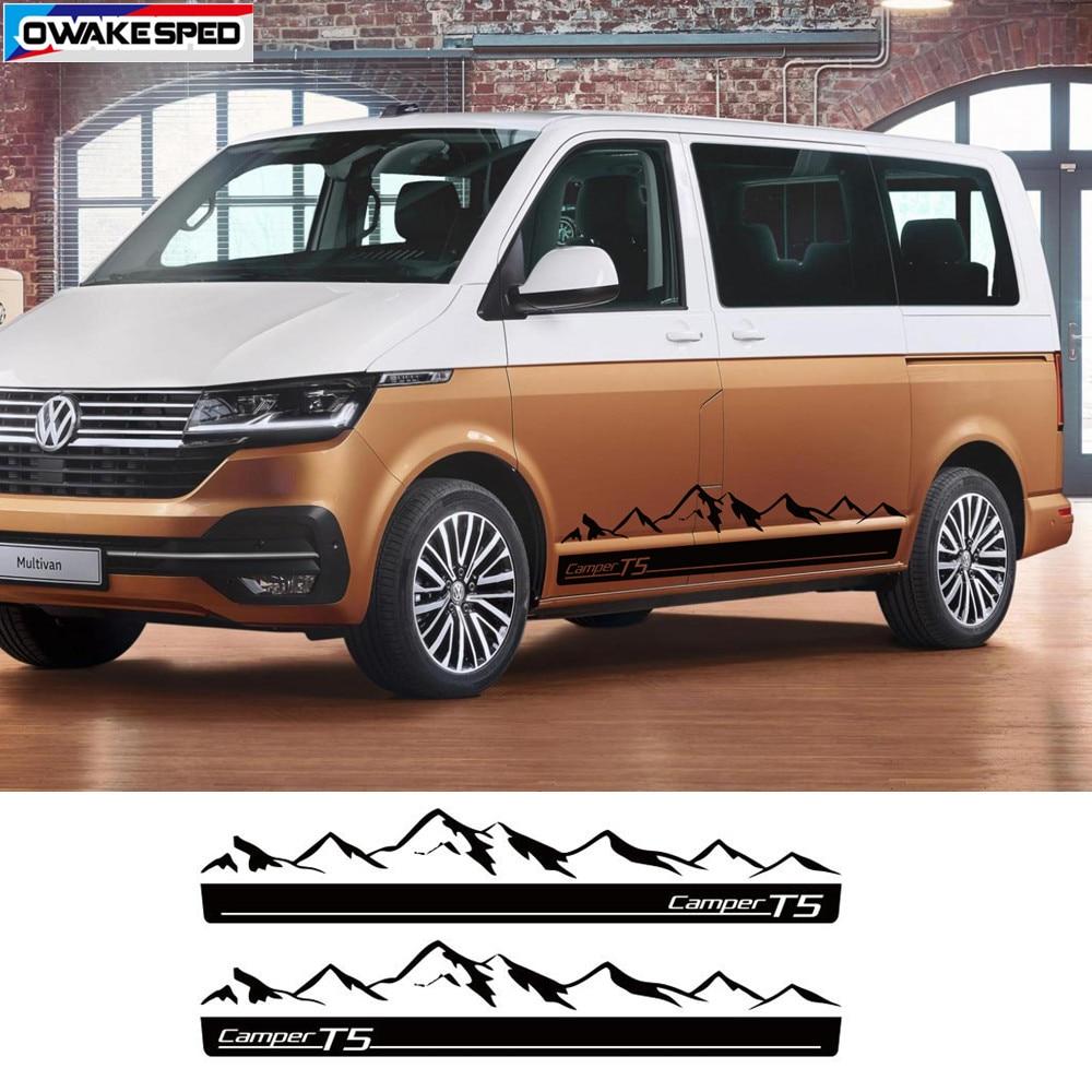 1 set Car Door Side Stripes Auto Body Decor Stickers Mountain Graphics Decals For Volkswagen Multivan T4 T5 T6