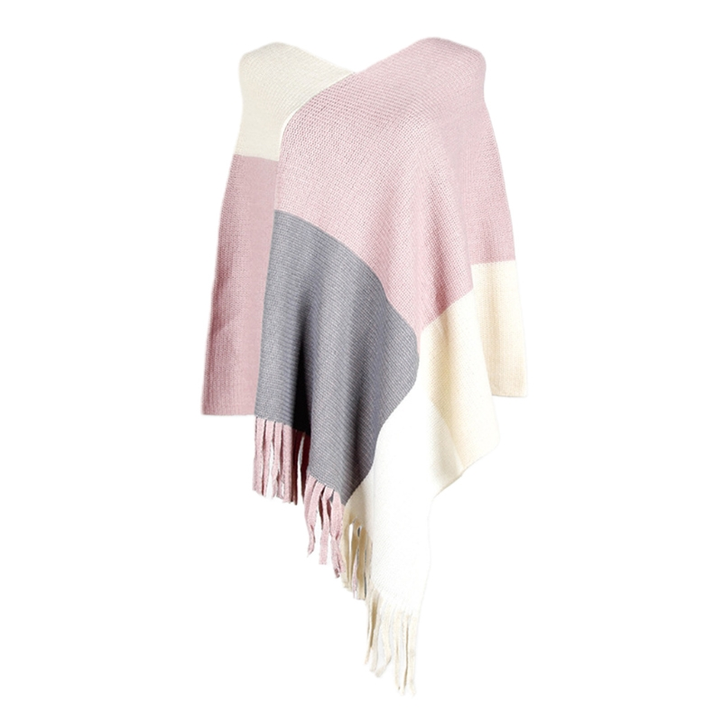 Women Color Block Poncho Cape Asymmetric Tassels Hem Knitted Shawl Scarf Wrap Vintage Fringed Loose Pullover Sweater Top