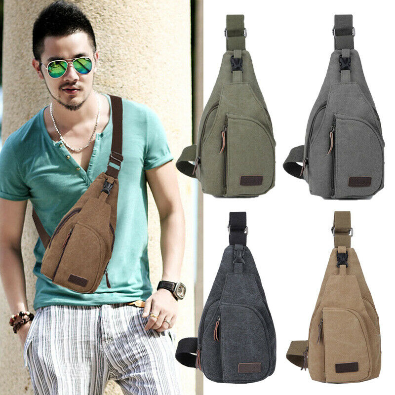2020 Hot New Brand Men Vintage Canvas Leather Satchel Shoulder Sling Chest Pack Bag
