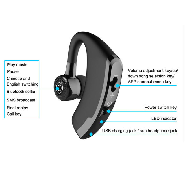 Headphone V9 Bluetooth-compatible Earphone Hands-free Wireless Headset Noise Control With Microphone High Quality Stereo Audio 4
