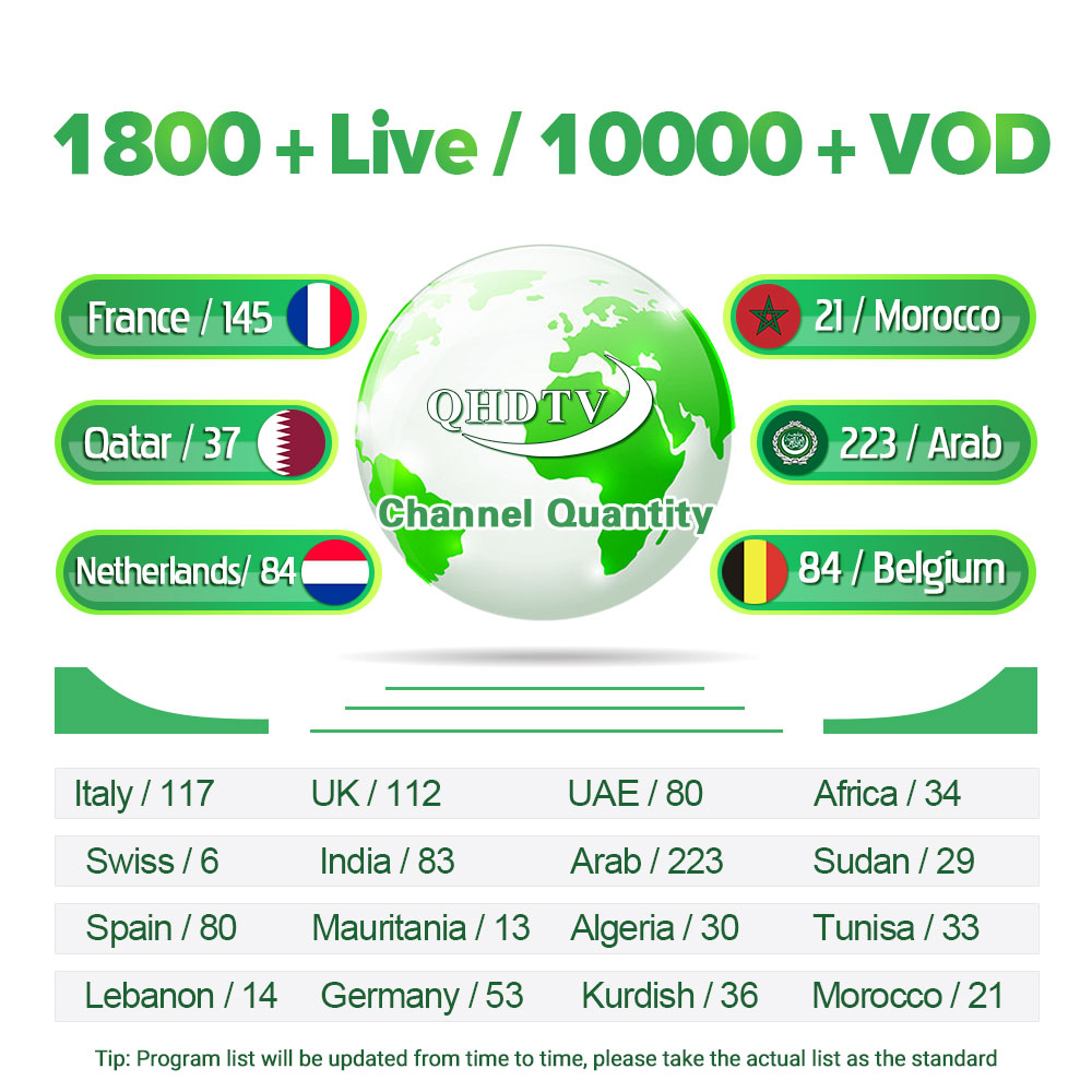 French Code IPTV 1 Year QHDTV Subscription R9 Android 8 1 1G 8G 2G 16G RK3229 4K IP TV France Italy Arabic Dutch QHDTV Box in Set top Boxes from Consumer Electronics