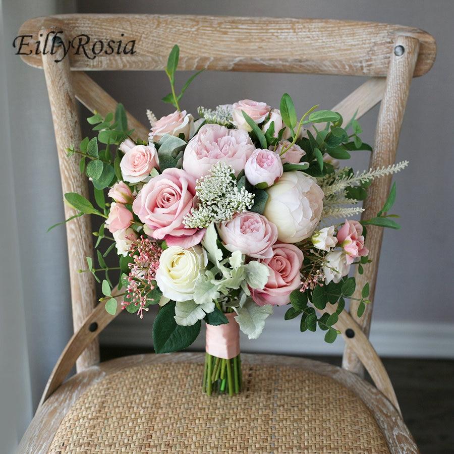 European Vintage Bridal Bouquet White Blush Pink Roses Boho Country Wedding Bouquet ramos de novia artificiales flower bouqut