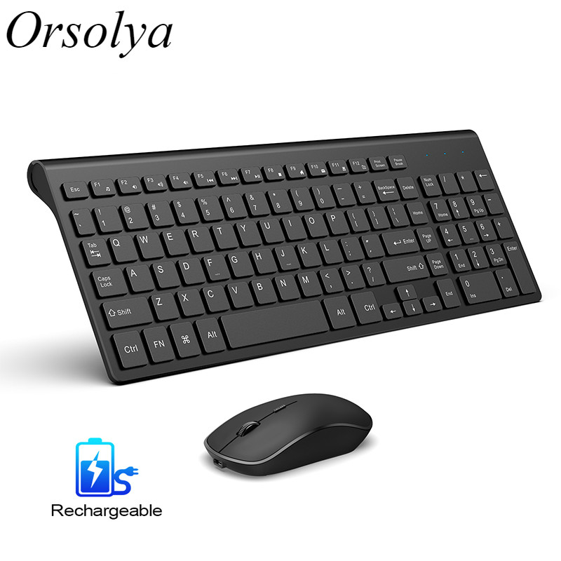 Rechargeable Wireless Keyboard Mouse Combo Set Spanish/US/UK Keyboard and 2400 DPI Mice, For Computer PC Laptop