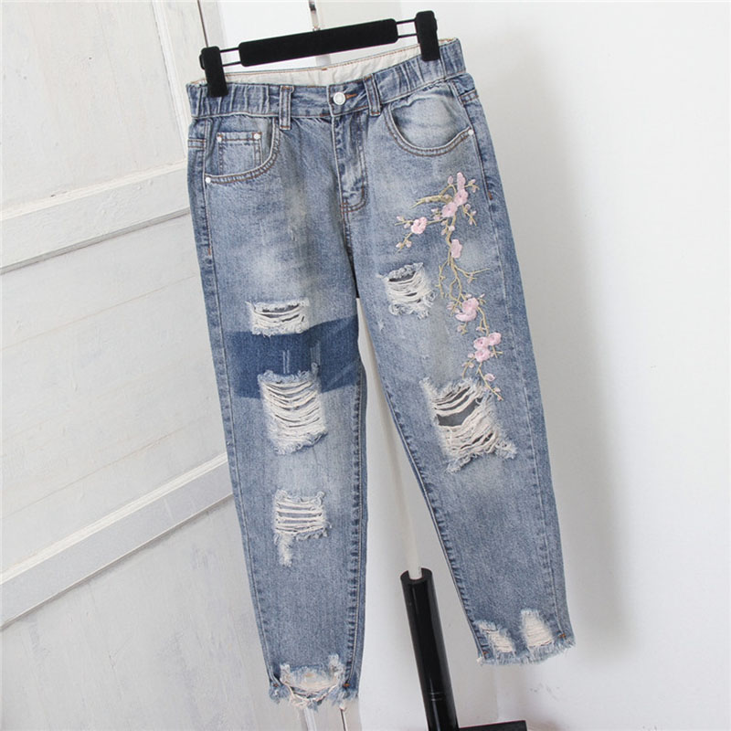 Plus Size 5XL Women High Waist   Jeans   Trousers Hole Ripped Embroidery Vintage Mom   Jeans   Femme Denim Harem Pants Casual Streetwear