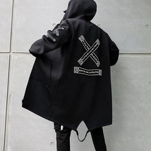 2021 Fall Men's Hooded Jacket Printed Harajuku Windbreaker Ribbon Coat Men's Casual Jacket Hip Hop trench coat Streetwear Coat