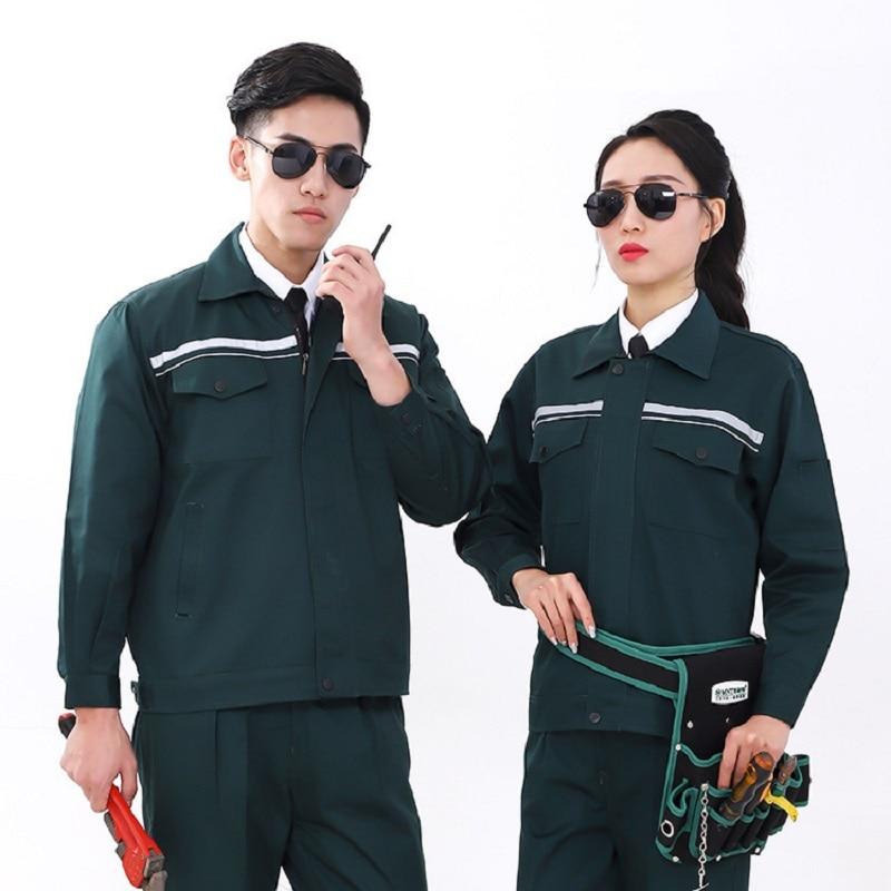 Welding Suits Reflective Clothes Set Men Women Long Sleeves Working Uniforms Car Workshop Gas Station Mechanical Suits Coveralls