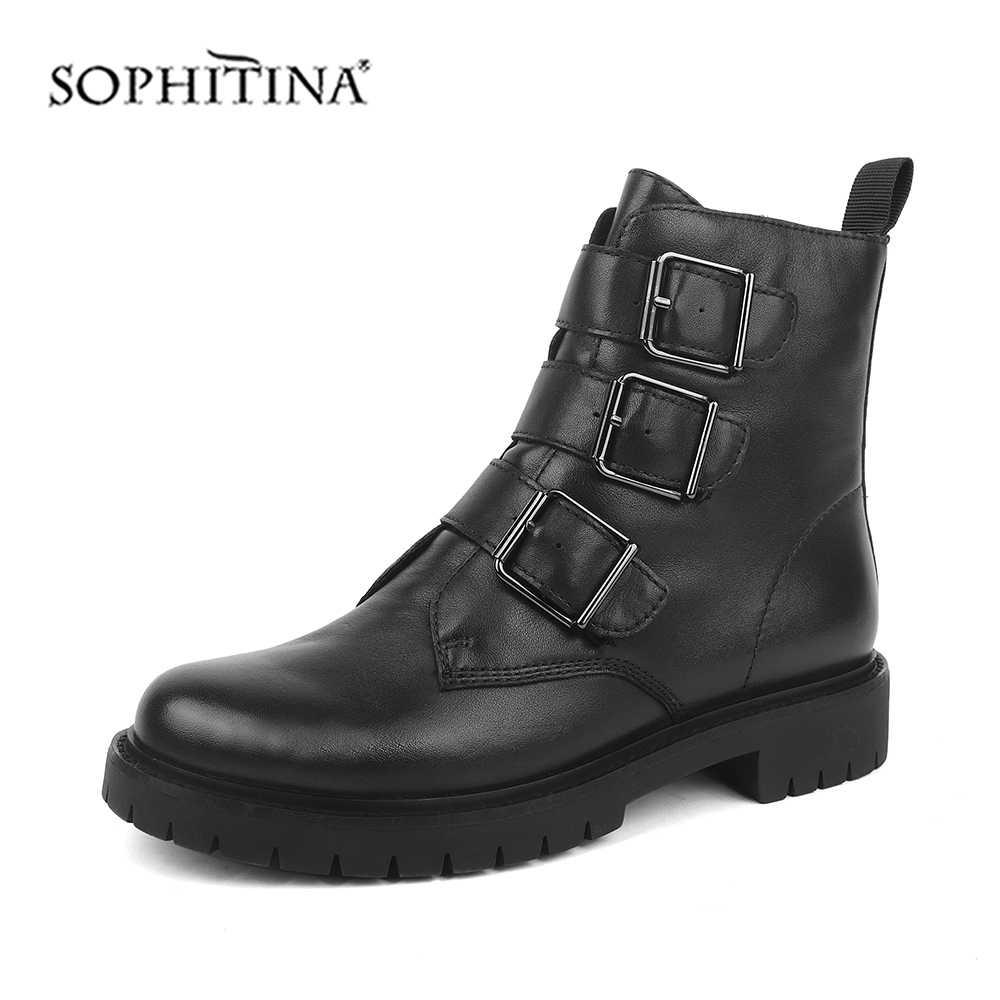 SOPHITINA kadın yarım çizmeler kare topuk moda toka fermuar hakiki deri 3cm kare topuk ayakkabı rahat botlar SC473