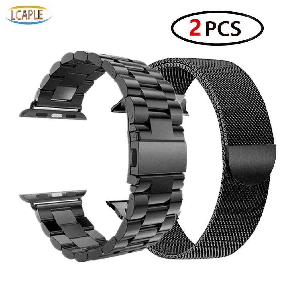 2 Pcs Strap For Apple Watch Band 44 Mm 40mm IWatch Band 42mm 38 Mm Stainless Steel Bracelet+Milanese Loop Apple Watch 5 4 3 2 1