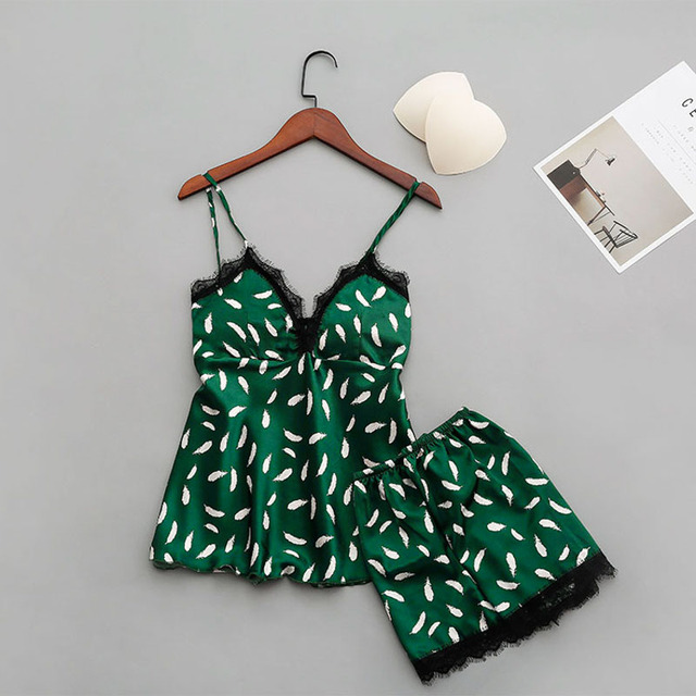 Women's Short Green V-Neck Pajamas