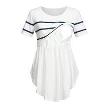 Femmes maternité allaitement T-Shirt col rond couleur unie doux Double manches courtes rayé blouse d'allaitement pour les femmes enceintes