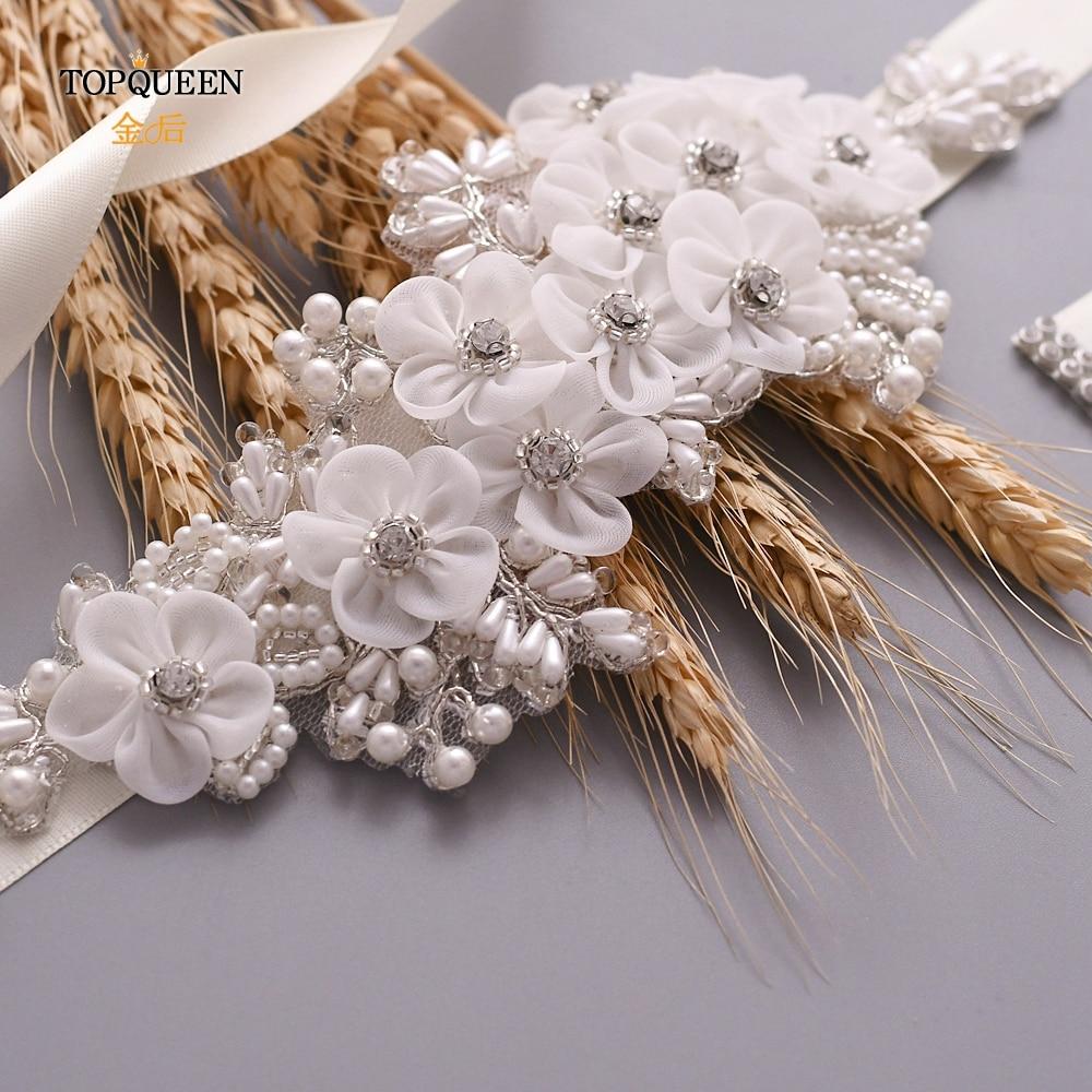 TOPQUEEN Wedding Dress Belt Flower Girl Belt  Wedding Formal Gown Cristal Metalic Pearl For Dress Decorative Silver Belt S355