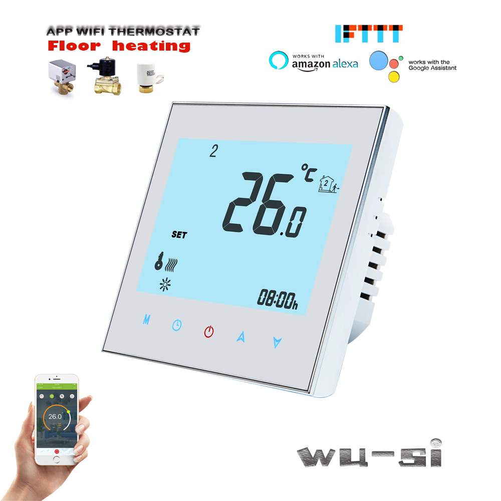 Floor Heating Wifi Thermostat,Control Electric Actuator NC / NO,works With Alexa Google Home ,24VAC, 95-240VAC Option