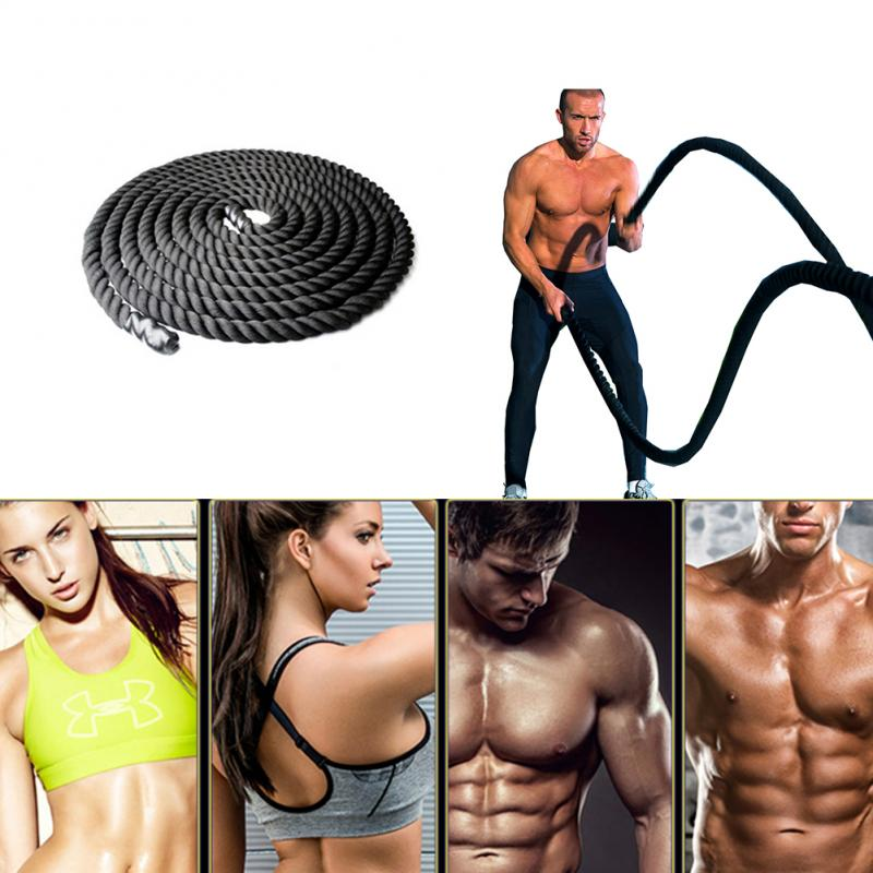 Professional Black 12M/15M Heavy Ripple Fighting Rope Sport Power Rope For Fitness Battle Muscle Strength Training Equipment HWC