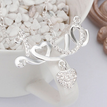 Crystal Letter LOVE Necklace Love Heart Pendant Silver plated Women Jewelry Forever Name Anniversary Gift