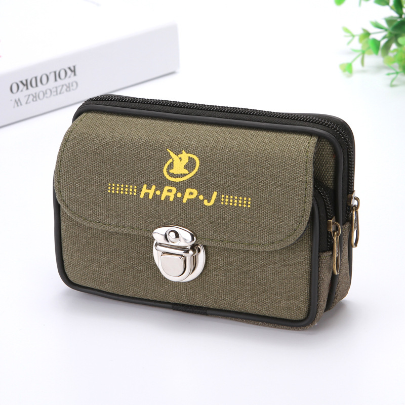 2 Zippers Men Fanny Packs For Mobile Phone Male Coin Purse Canvas Good Quality Bags Pack Casual Waist Packs Man Moneybags Purse