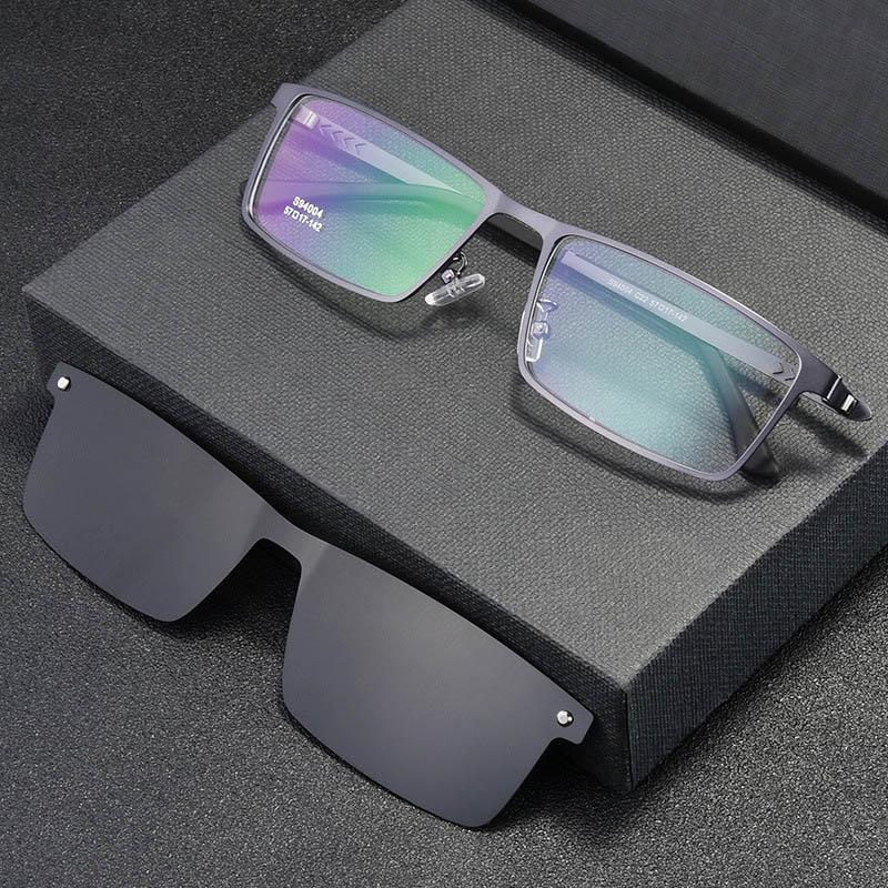 Optical Spectacle Frame Men Women With Clip On Sunglasses Polarized Magnetic Glasses For Male Myopia Eyeglasses Full Metal