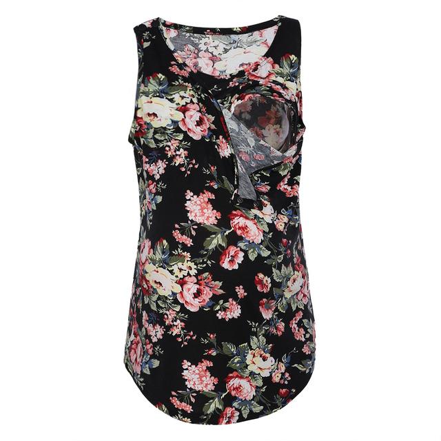 Maternity Summer Flower Print Loose Casual T Shirt