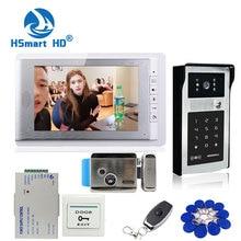 New 7 inch Color Screen Video Door Phone Video Intercom Kit + Touch Outdoor RFID Code Keypad Number Doorbell Camera 1 Monitors