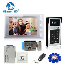 Nieuwe 7 Inch Kleurenscherm Video Deurtelefoon Video Intercom Kit + Touch Outdoor Rfid Code Toetsenbord Nummer Deurbel Camera 1 Monitoren