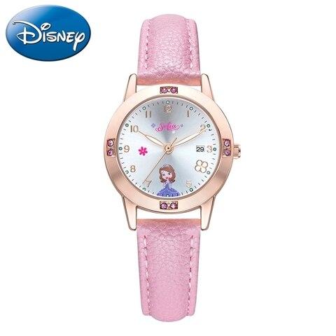 Calendário de Luxo Disney Sofia Princesa Crianças Strass Diamante Bonito Meninas Relógios Cinta Macia Relógio Senhora Presente 2020