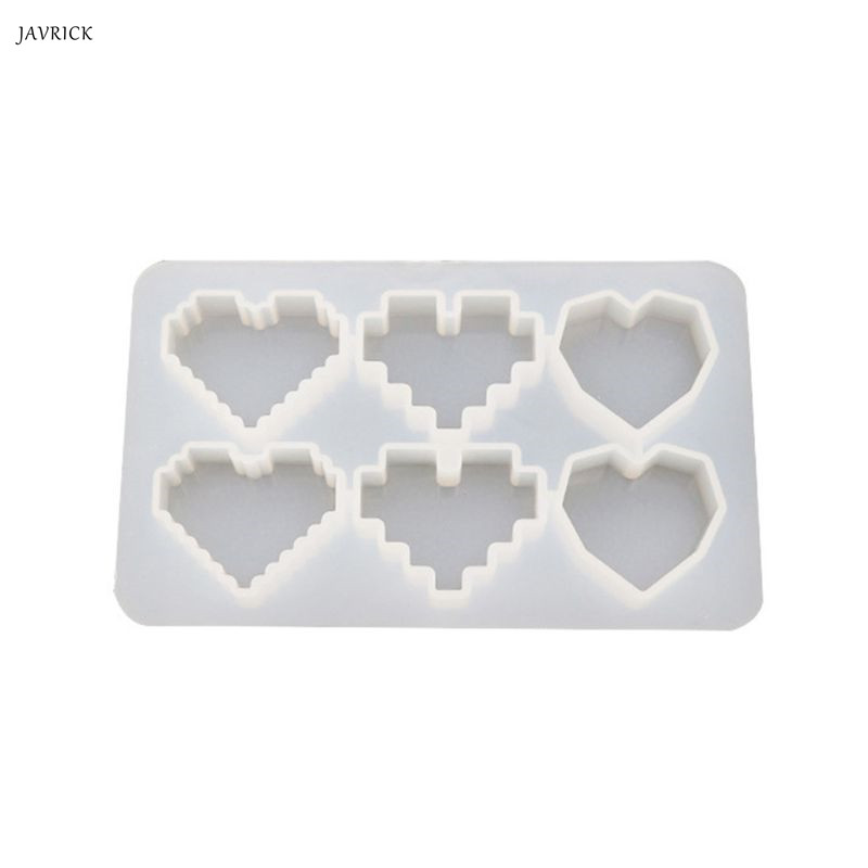 Crystal Epoxy UV Resin Mold Pixel Love Heart Shape High Mirror DIY Handmade Pendant Silicone Molds