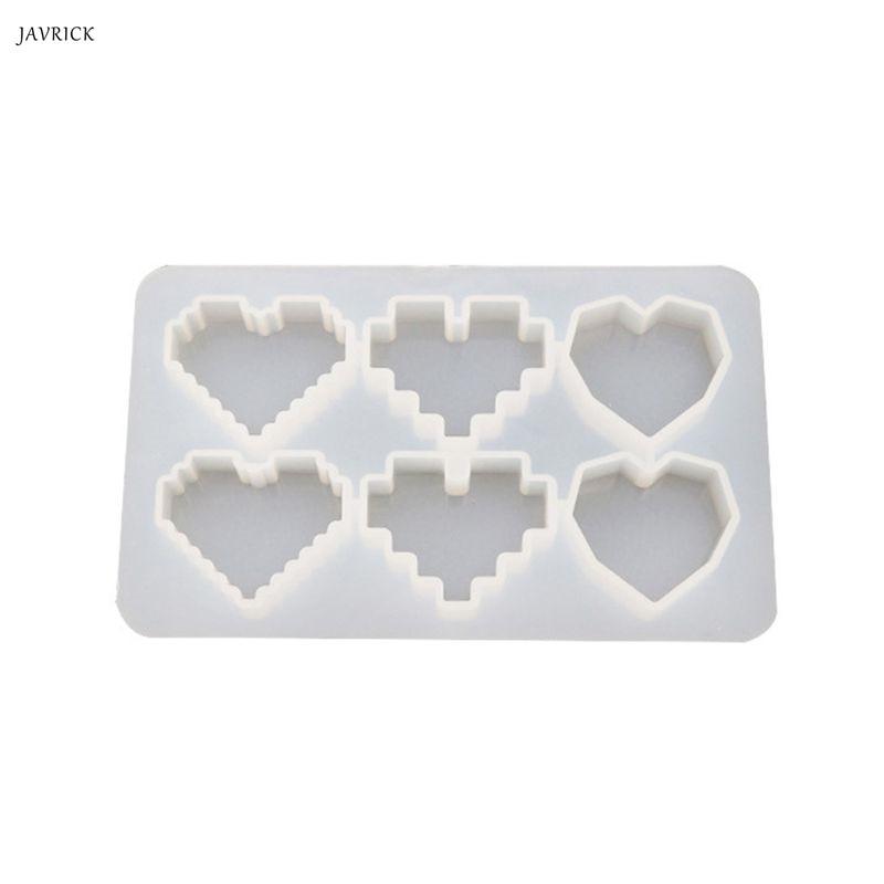 Crystal Epoxy UV Resin Mold Pixel Love Heart Shape High Mirror DIY Handmade Pendant Silicone Molds