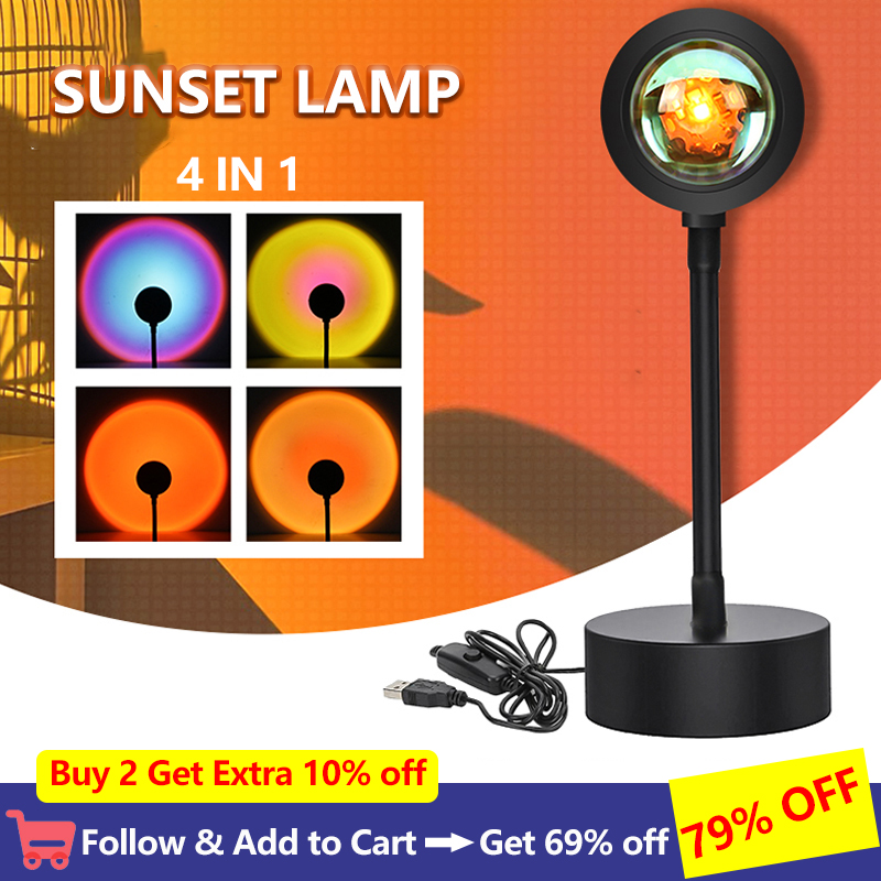 Holiday Gift Sunset Projector Lamp for Home Bedroom Backroom Wall Decoration Projection Night Light Led Atmosphere Sunset Lamp