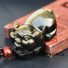 Men Necklace Pendant Gold Obsidian Stone Carved Lucky Pig Zodiac Pig Pendant Gift for Women Male's Fine Jewelry ebony carved pig ornaments solid wood zodiac pig home feng shui living room decorations mahogany carving pig crafts