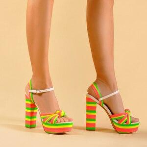 Image 5 - Sinsaut 夏靴の女性のかかとサンダルハイヒールウェッジサンダルの女性プラットフォームサンダルスクエアヒール女性のための