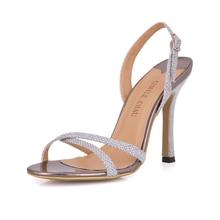 цена на Summer New 10cm High Heeled Sandals Fashion Glitter Stiletto Thin heel Sling Back Open Toe Sexy Party Dress Women Shoes 7-b1