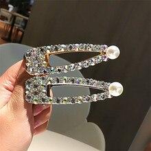 Korea Shiny Crystal Rhinestones Hairpins Geometric Rectangle Waterdrop Imitiation Pearl Hair Clips Accessories