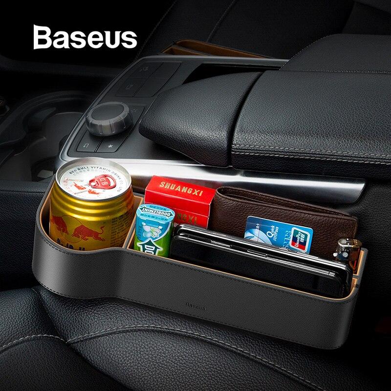 Baseus Universal cuero organizador de coche asiento de coche caja de almacenamiento para organizador de bolsillo billetera cigarrillos llaves soporte de teléfono